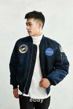 Uo Alpha Industries Ma-1 Vf Navy Blue Homme Bomber Jacket Taille Moyenne