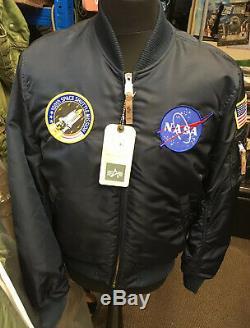 Véritable Alpha Industries Ma-1 Vf Rep Bleu Nasa Édition Slim Fit Bomber Jacket