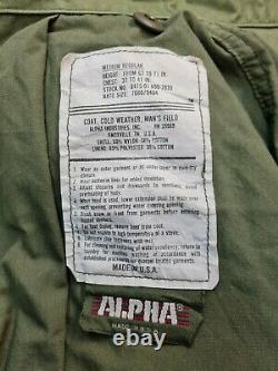 Veste De Combat Alpha Ind Us Olive Green Og 107 M65 Medium Reg #14