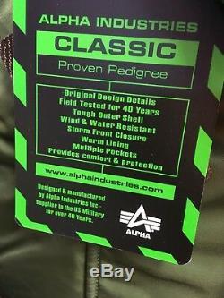 Veste De Ligne À Capuchon Véritable Alpha Industries Sage Green N2b À Capuchon Pour Temps Froid