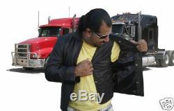 Veste En Cuir Marron Foncé Alpha Trucker Medium Nouveau Rare