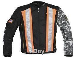 Veste En Textile Alpha Camo De L'armée Américaine Joe Rocket Avec Gilet De Sécurité, Noir Moyen