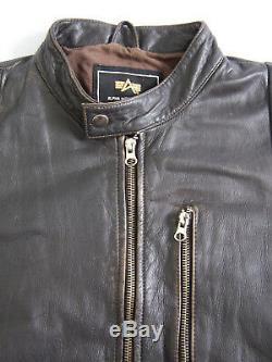 Veste Motard En Cuir Alpha Industries Pour Homme, Moyen, Noir, Vintage, Alp333 #