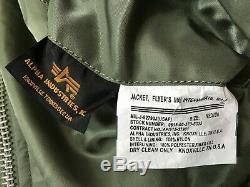 Veste Usaf Ma1 Flyers De Alpha Industries Fabriquée Aux États-unis, Vert, Moyen, Nouveau