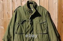 Vintage 1980 Us Navy M-65 Field Jacket Alpha Industries Moyen Régulier USA Hommes