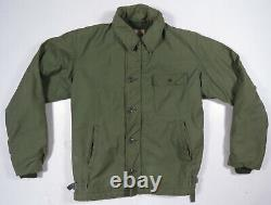 Vintage 70s Military Usgi Us Navy Cold Weather A-2 Permeable Deck Green Jacket