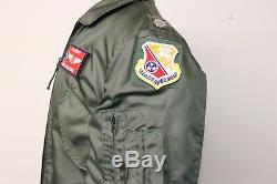 Vintage Alpha 1980 Cwu-36 / P Bomber Jacket Pilot Circulaires Sz Med Correctifs Nomex