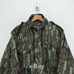 Vintage M-65 Alpha Industries Trebark Camouflage Coat Army Field Jacket M Reg