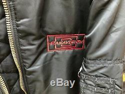 Vintage Panavision Alpha Bombardier Militaire Flight Jacket Black Camera M + Hat Nouveau