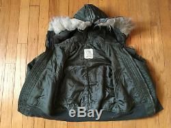 Vintage Usaf N-2b Flight Jacket Men Taille Moyenne 1970 Vietnam Scovill Zipper