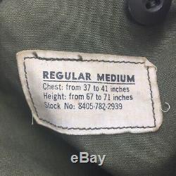Vtg Alpha Ind Veste De Campagne Militaire Américaine M65 Epoque De La Guerre Du Vietnam Og107 Vert Med A1a