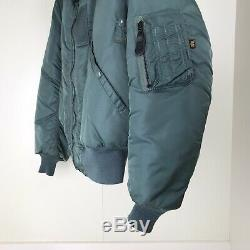 Vtg Alpha Industries B 15 Veste Taille Homme Moyen Teal Bomber Vert
