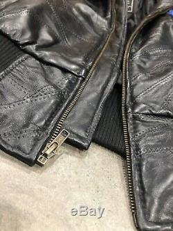 Vtg Alpha Industries - Blouson Patchwork En Cuir Noir Avec Patchwork De La Nasa - Moyen
